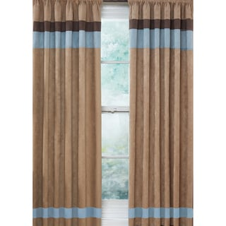 Sweet Jojo Designs Sky Blue, Chocolate Brown and Camel 84-inch Window Treatment Curtain Panel Pair for Soho Collection
