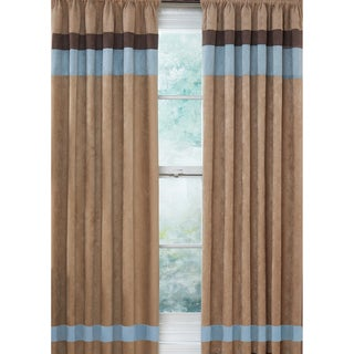 Sweet Jojo Designs Sky Blue, Chocolate Brown and Camel 84-inch Window Treatment Curtain Panel Pair for Soho Collection - 42 x 84