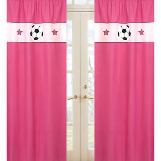 Sweet Jojo Designs Pink, Black and White 84-inch Window Treatment Curtain Panel Pair for Soccer Collection