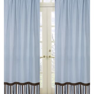 Sweet Jojo Designs Blue, Brown and White Stripe 84-inch Window Treatment Curtain Panel Pair for Starry Night Collection