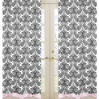 Sweet Jojo Designs Pink, Black and Crisp White 84-inch Window Treatment Curtain Panel Pair for Sophia Collection
