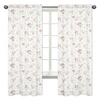 Sweet Jojo Designs Pink, Green, Off-White and White 84-inch Window Treatment Curtain Panel Pair for Riley's Roses Collection