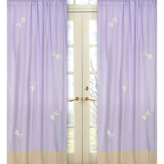 Sweet Jojo Designs Purple, Yellow and White 84-inch Window Treatment Curtain Panel Pair for Purple Dragonfly Dreams Collection