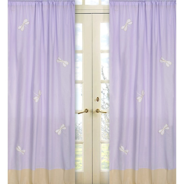 Sweet Jojo Designs Purple Yellow And White 84 Inch Window Treatment Curtain Panel Pair For
