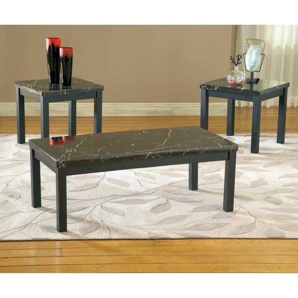 Bernards Black Faux Marble Tables (Pack of 3)