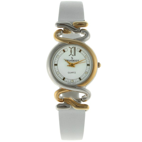Peugeot Vintage Hinged White Leather Strap Watch