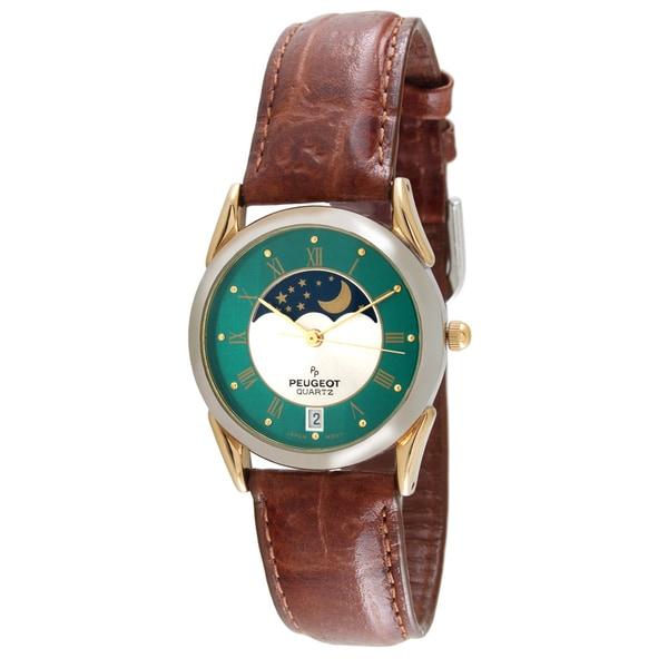 Peugeot Men's Vintage Decorative Moon Leather Strap Watch