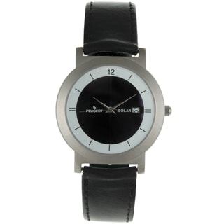 Peugeot Women's 590 Black Leather Solar Powered Rechargable Watch