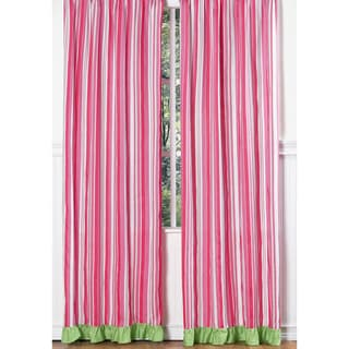 Sweet Jojo Designs Pink, Green and White 84-inch Window Treatment Curtain Panel Pair for Olivia Collection