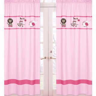 Sweet Jojo Designs Pink, Green, Chocolate, Brown, White Jungle Friends Collection 84-inch Window Treatment Curtain Panel Pair