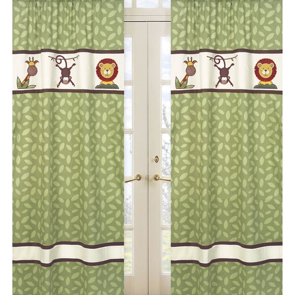 Sweet Jojo Designs Green, Orange, Brown, Yellow, Red, Tan and Ivory Jungle Time 84-inch Window Treatment Curtain Panel Pair