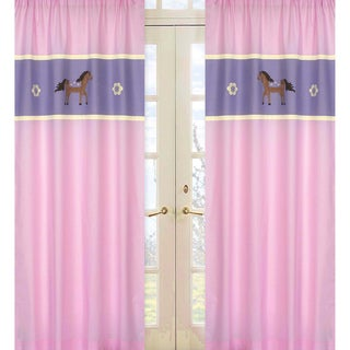 Sweet Jojo Designs Pink, Purple, Chocolate and Brown 84-inch Window Treatment Curtain Panel Pair for Pretty Pony Collection
