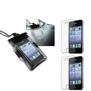 INSTEN Black Waterproof Bag/ LCD Protectors for Apple iPhone 4/ 4S