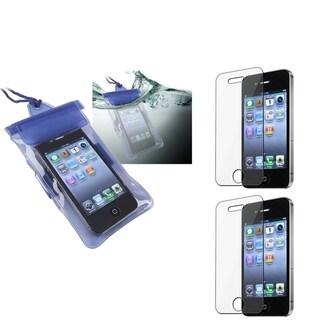 INSTEN Blue Waterproof Bag/ LCD Protectors for Apple iPhone 4/ 4S