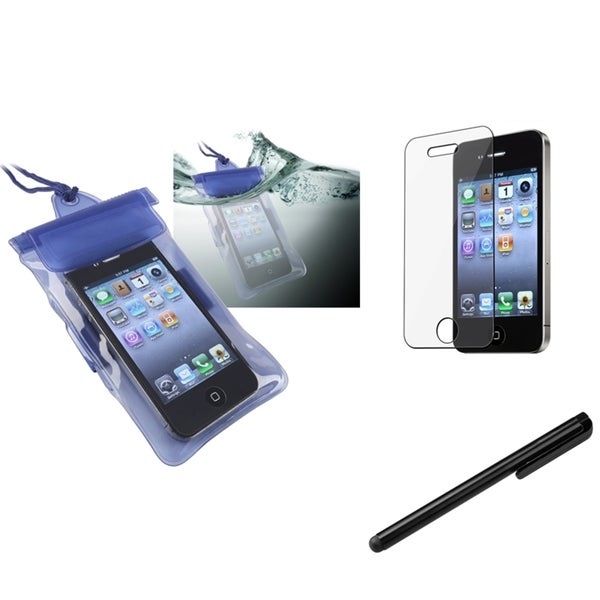 INSTEN Blue Waterproof Bag/ Protector/ Stylus for Apple iPhone 4/ 4S