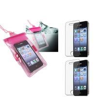 INSTEN Hot Pink Waterproof Bag/ LCD Protectors for Apple iPhone 4/ 4S