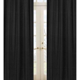 Sweet Jojo Designs Black 84-inch Window Treatment Curtain Panel Pair for Black Minky Dot Collection
