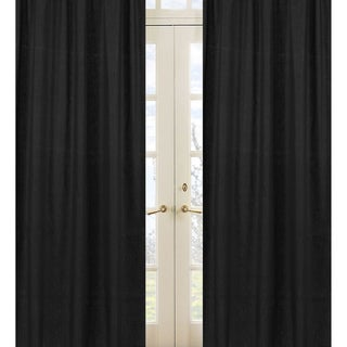 Sweet Jojo Designs Black 84-inch Window Treatment Curtain Panel Pair for Black Minky Dot Collection - 42 x 84