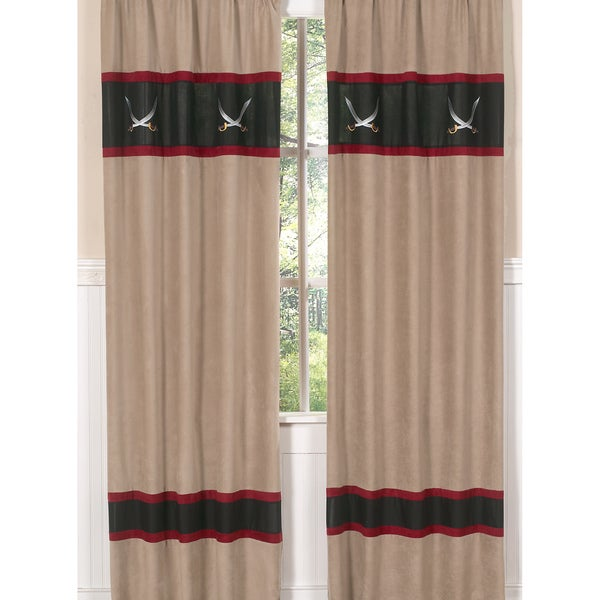 Sweet Jojo Designs Red, Camel, Gray, Black and White 84-inch Window Treatment Curtain Panel Pair for Pirate Collection