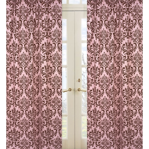 Pink and Chocolate Damask 84-inch Curtain Panel Pair