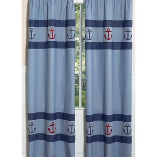 Sweet Jojo Designs Navy, Red and Chambray Blue 84-inch Window Treatment Curtain Panel Pair for Nautical Nights Collection
