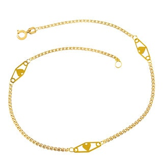 Fremada 14k Yellow Gold Heart Anklet