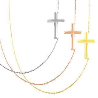 Fremada 14k Gold Polished Sideways Cross Adjustable Necklace