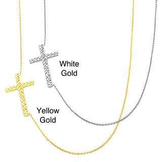 Fremada 14k Gold Sideways Diamond-cut Cross Adjustable Necklace
