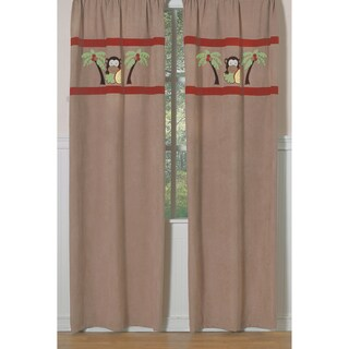 Sweet Jojo Designs Brown, Camel, Rust, Avocado, Yellow 84-inch Window Treatment Curtain Panel Pair for Monkey Time Collection