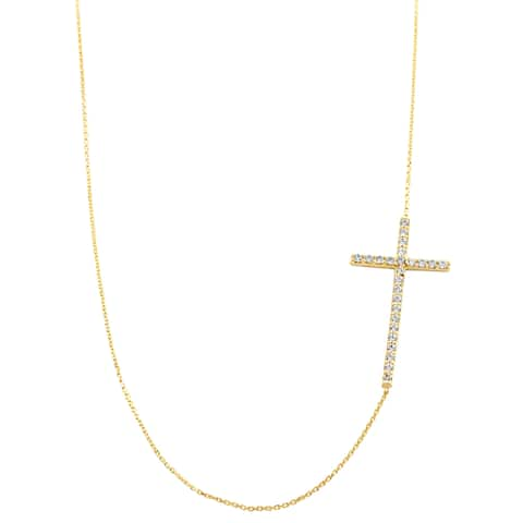 Fremada 14k Yellow Gold Cubic Zirconia Sideways Cross Adjustable Necklace