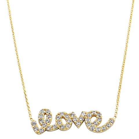 Fremada 14k Yellow Gold Cubic Zirconia Sideways Love Adjustable Necklace