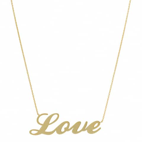 Fremada 14k Yellow Gold Polished Love Adjustable Necklace