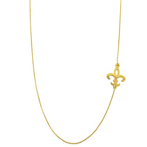 Fremada 14k Yellow Gold Sideways Fleur De Lis Adjustable Necklace