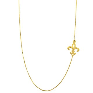 Fremada 14k Yellow Gold Sideways Fleur De Lis Adjustable Necklace