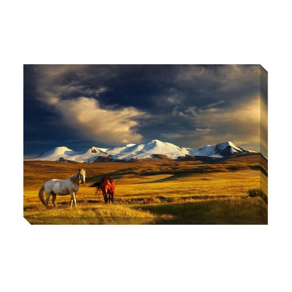 Gallery Direct Mountain Horses Oversized Gallery Wrapped Canvas