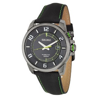 Seiko Men's 'Kinetic' Black/ Green Watch
