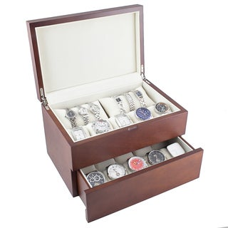 Dual Level Vintage Wooden Watch Case - Brown