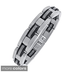 Stainless Steel Men's Plated Highlight Link Bracelet