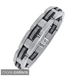 Stainless Steel Men's Plated Highlight Link Bracelet
