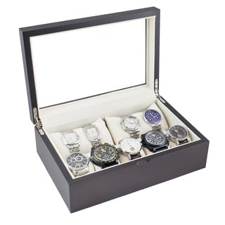 Caddy Bay Collection Vintage Dark Walnut/ Glass Top Watch Case
