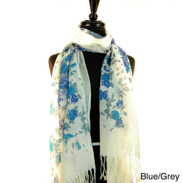 Pashmina/ Silk 'Cascading Flowers' Fashion Scarf