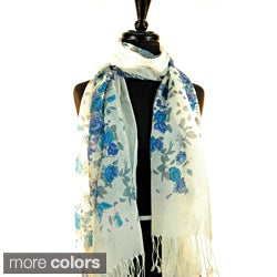 Pashmina/ Silk 'Cascading Flowers' Fashion Scarf