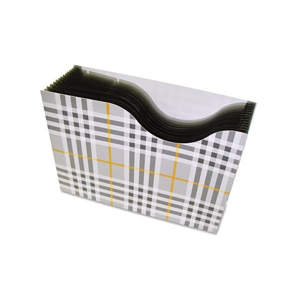 C-Line Grey Plaid 13-Pocket Expanding File