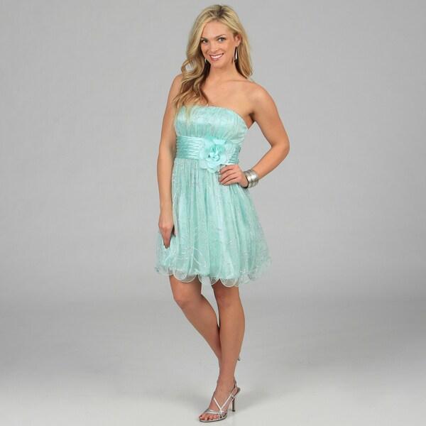 Morgan & Co Juniors Mint Banded Waist Strapless Evening Dress