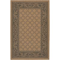 "Recife Garden Lattice Cocoa- Black Indoor/Outdoor Rug - 8'6"" x 13'"