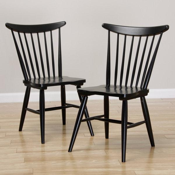 Sterling Windsor Soft Black Dining Chair Set Of 2 Free