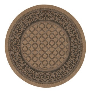 Recife Garden Lattice Cocoa/ Black Rug (7'6 x Round)