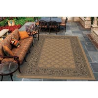 Couristan Recife Garden Lattice/Cocoa-Black Indoor/Outdoor Area Rug - 5'3 x 7'6