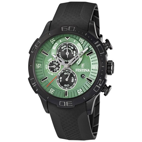 Festina Men's Black Polyurethane Quartz Watch with Green Dial