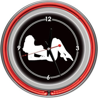 Shadow Babes A Series Red Neon Ring Clock